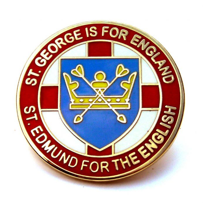"""St Edmund For The English"" Lapel Badge - Red"